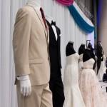 34 Sample wedding tuxes and dresses on manicans